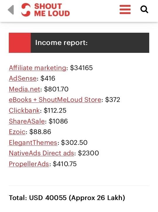 Blog income